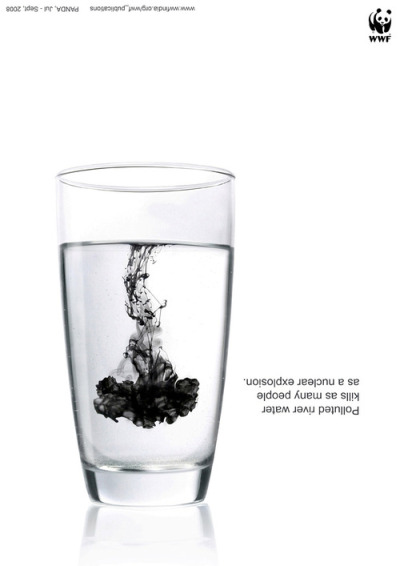 Polluted river water kills as many people as a nuclear explosion. WWF Ad by Everest Brand Solutions