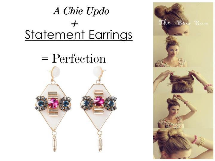 The lady Gaga's Bow updo (well almost) +Oh so gorgeous statement earrings =♥ at first sight!