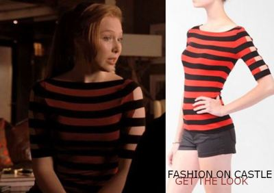 Castle – Season4, Episode 2: Heroes and Villains Alexis is wearing a striped top featuring cutout short sleeves with elasticized stripes. Get it here: forever21.com