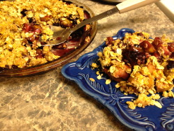 Apple Blueberry Crumble Baked granny smith apples and blueberries under a crunchy crumbly topping of oats, corn meal, oat bran, walnuts, and almond butter.    Yum!   And a *kid* note: usually my son does not care for my crumbles, and he *loves* this one.  Score! The original recipe I use comes from Moosewood Restaurant Cooking for Health.  But I've tweaked it over time, including adding the oat bran and taking out the oil in the topping and replacing it with just a little nut butter.