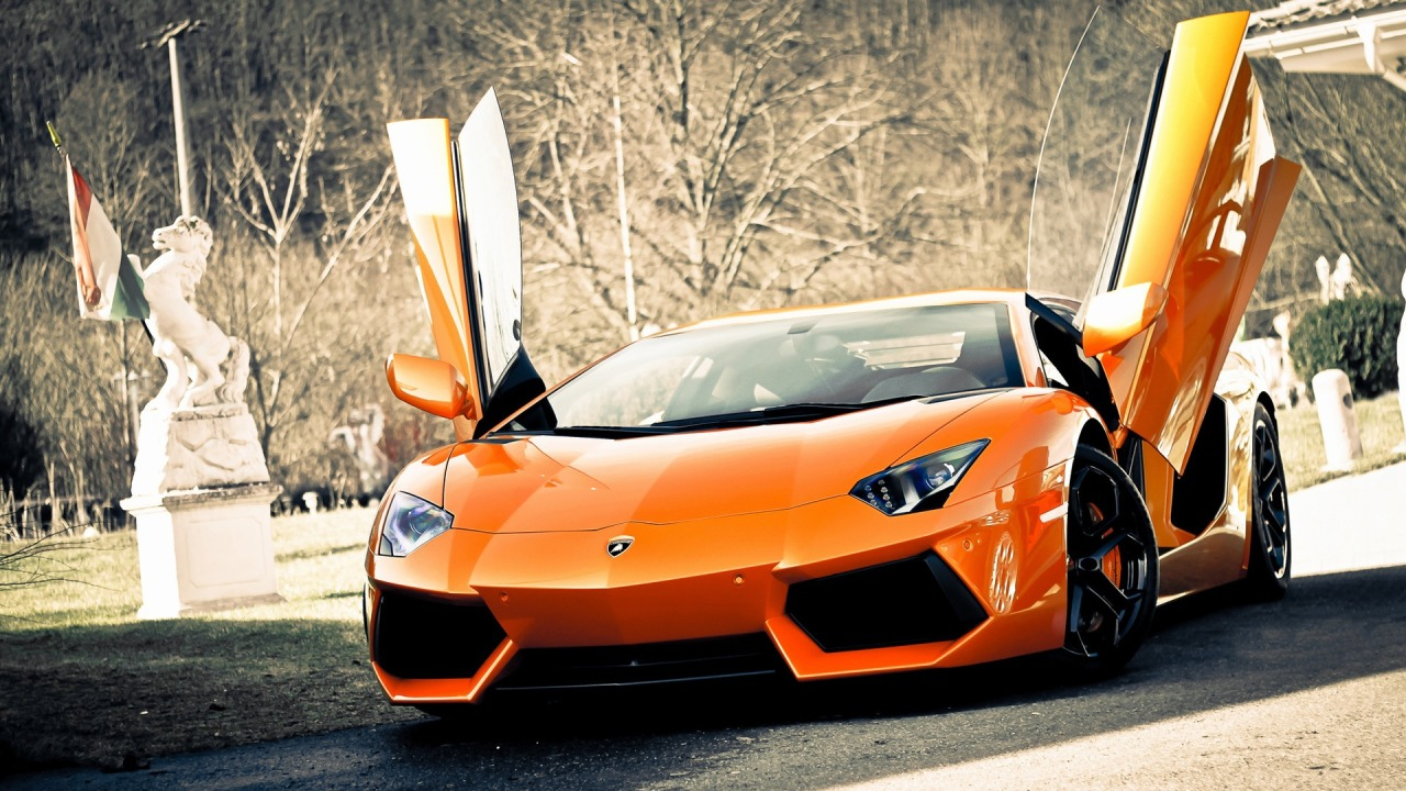 Lamborghini aventador in orange varnish, hdwallpapers