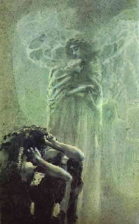 Mikhail Vrubel. Demon and Angel with Tamara's Soul, 1891