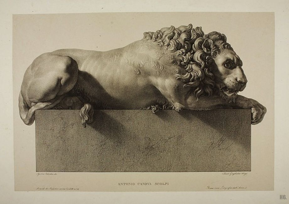 The awake lion.1830. from the monument to Clement XIII. Antonio Canova. engraving by Paolo Guglielmi. Italian. 1804-1862. http://hadrian6.tumblr.com