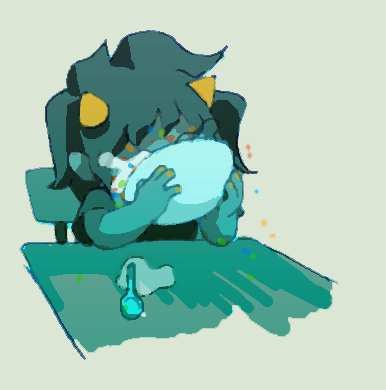 milkybee:  terezi eating a bowl of fruity pebbles