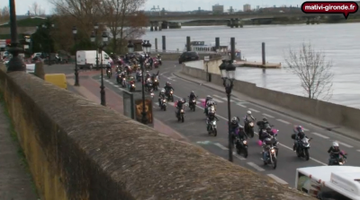 TOUTES EN MOTO Bordeaux Cuvée 2013 Thousands of motorcyclists from France came together to celebrate the  international day for Women's Rights and rode through the city with pink balloons tied to their bikes.  [ watch the video on YouTube ]