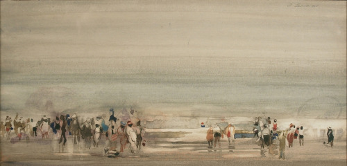 "Danny Levine (1926-2009), Waterfront Crowd, 1965, watercolor on paper, 6 1/2 x 13 3/4 inches 6"" x 13.75"" that is some intricacy for watercolor."