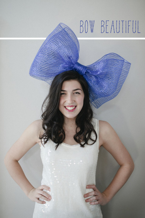 "crankycrafter:  DIY Giant Bow. http://asubtlerevelry.com/big-bow-party-hat What girl wouldn't want to wear this to a party… in public? From A Subtle Revelry:  ""A very big bow is a great and festive option for your best friend, mom, daughter or grandma's birthday. It it large enough to really make a girl feel special, while being whimsical and pretty at the same time.""  *Posts in this party hat series are styled and photographed by Carly Taylorunder the creative direction of Victoria Hudgins for A Subtle Revelry. Would you wear this to a party?   truebluemeandyou: I've gotten asked a few times what to do with the really cheap fabric tulle and this is one example. For cosplay, dress up or Halloween. Really cute. A regular party? Not so much. For more DIYs using tulle go here: truebluemeandyou.tumblr.com/tagged/tulle"