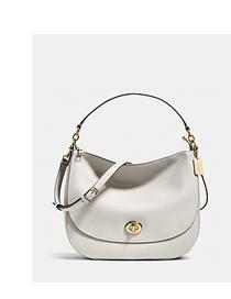 White Turnlock Shoulder Bag