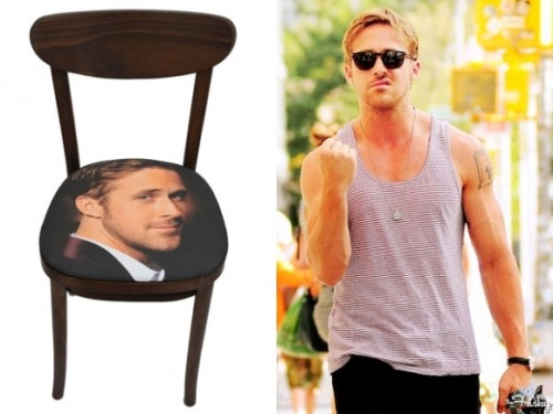 thefrisky:  Ryan Gosling Shakes His Fist At A Very Expensive Ryan Gosling Dining Chair  This item exists…