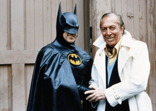 "daily-superheroes:  Bob Kane and Michael Keaton during the filming of ""Batman Returns""http://daily-superheroes.tumblr.com/"