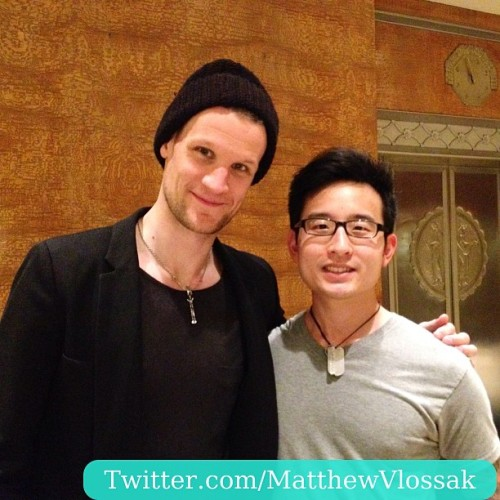 matthewvlossak:  Oh yeah, I MET THE DOCTOR (Matt Smith), MY DOCTOR! #doctorwho #drwho #stevenmoffat #moffat #mattsmith #bbc #bbca #bbcamerica #bbcone #peabodyawards #nyc #thedoctor  MATT, I CAN'T EVEN DEAL WITH YOU RIGHT NOW. AND, OTHER MATT, I CAN'T BELIEVE YOU'RE WEARING A BEANIE IN SUCH A FANCY HOTEL. LOOK AT THAT ELEVATOR, THIS IS NO PLACE FOR BEANIES, SIR. I UNDERSTAND YOU'RE CURRENTLY BALD, BUT DAMN.