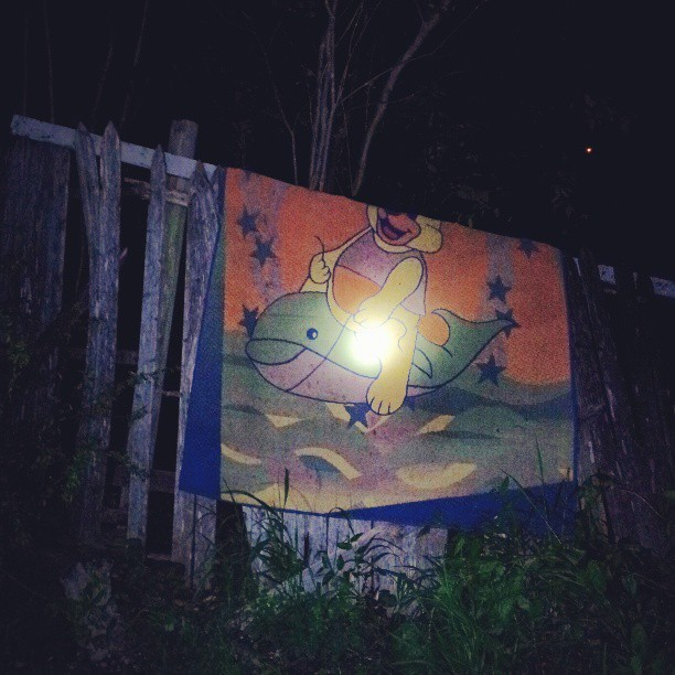the-great-decline:  #Creepy rug hanging on the fence at the lake house. #weird
