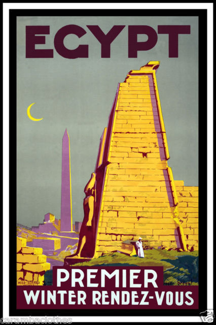 merelygifted:  Art Deco Egypt travel poster via ebay