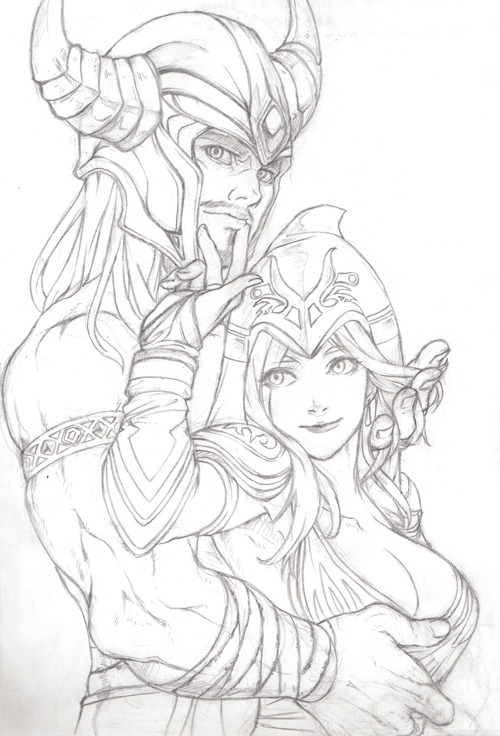 vicelishigh:  Tryndamere & Ashe by Bling ——————————————————————- All my YES