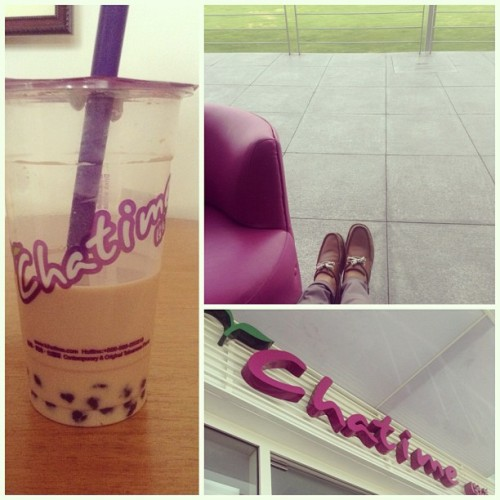 Quick tea break! :) #tea #chatime #alone #happy