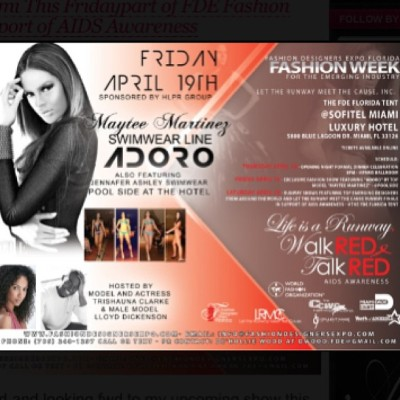 This Friday 4/19 #AdoroSwim Fashion Show at 8pm featuring #JennaferAshleySwimwear part of #FDE Fashion Week in support of #AIDSAwareness @SofitelMiami !!! Tickets are limited and can be purchased at FashionDesignersExpo.com 👙🔥☀ #Miami #Models #AdoroSwimwear