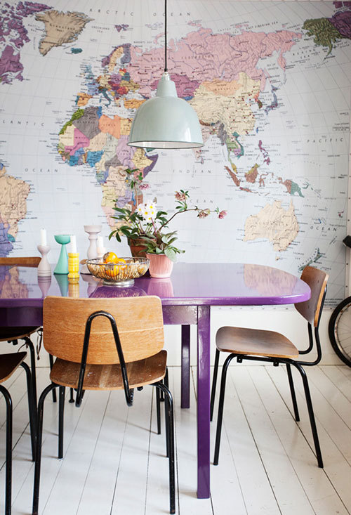 purple + maps + old school chairs (via Design*Sponge)