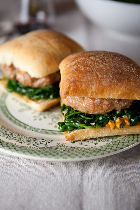 foodopia:  italian sausage burgers with spinach: recipe here