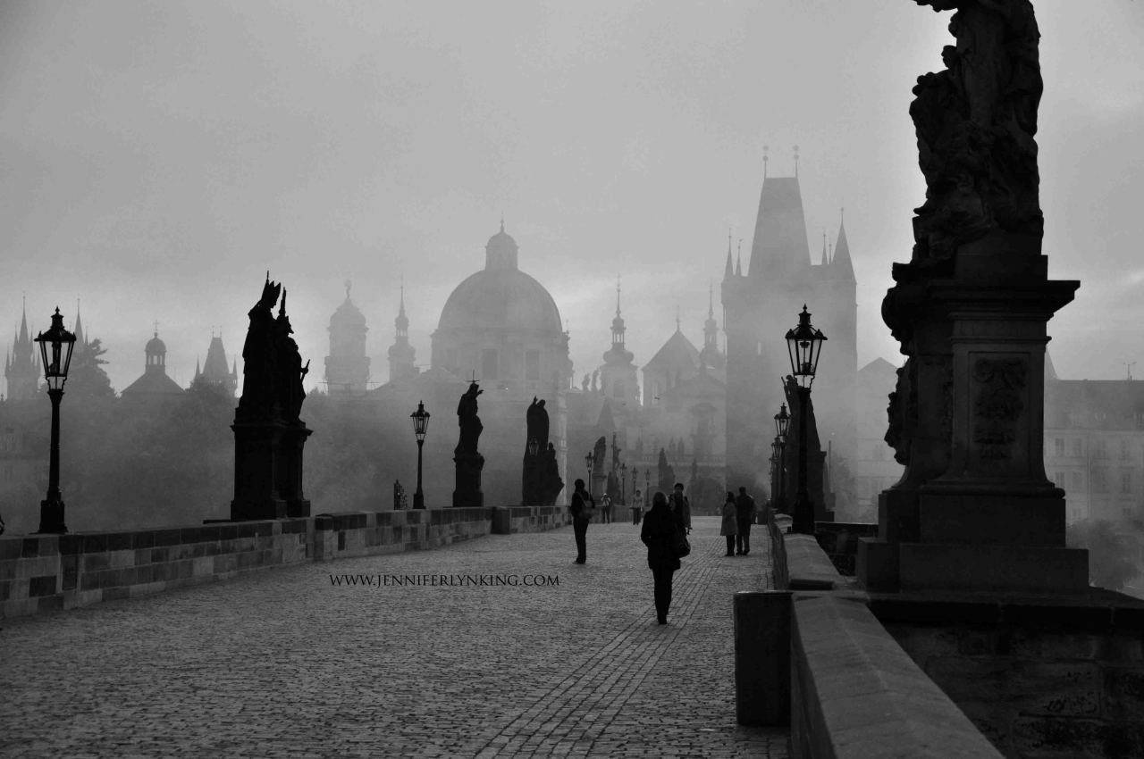 Charles Bridge, Always Mysterious from http://jenniferlynking.com/2012/10/23/prague-charles-bridge-and-sunrise-in-fog/