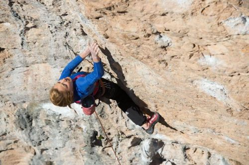 "Sasha DiGiulian sending ""Airline"" (5.12c) in Santa Linya, Spain Photo credit: Rainer Eder Sasha is over in Spain killing it as always during her winter break!"