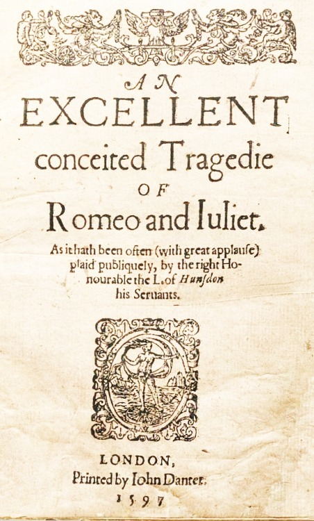An Excellent conceited Tragedie… Title page of the first edition.