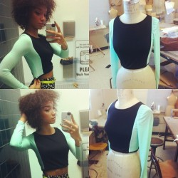 raybabyray:  Just finished my simple knit top for industrial sewing class (last project, yay!) I have extra fabric so I'll make a matching skirt later! Thank god I'm mannequin size! #ilovemint #fashiondesign #unt