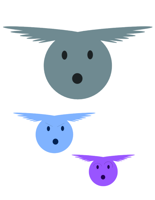 Flying Egg Dog Things These were winged eggs when I first created them, but everyone I've spoken to sees dogs!  You can decide what you want to see.