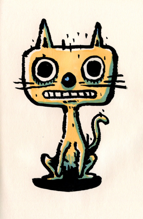 ghosttthead:  casual cat - sketch on the bus (pentel brush-pen + letraset promarkers)