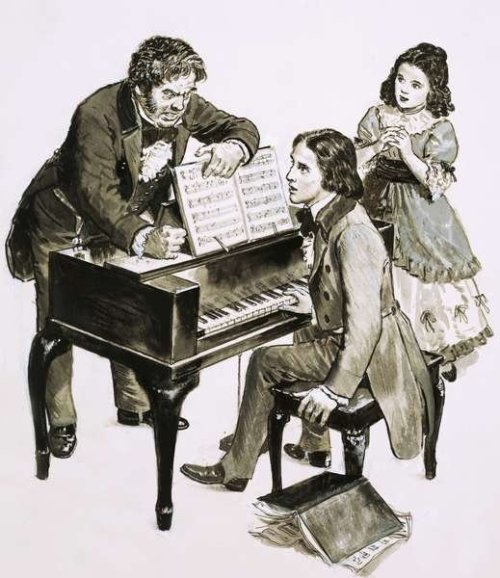 composersillustrated:  Robert Schumann and Clara Wieck (Schumann) with Friedrich Wieck by