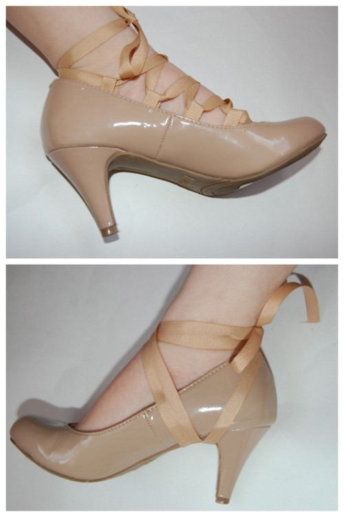 DIY Lace Up Heels Two Ways Using Ribbon Tutorials from Gloriously Chic here. One tutorial uses glue (no eyelets!) and the second tutorial shows how to strategically tie a ribbon around your heels.