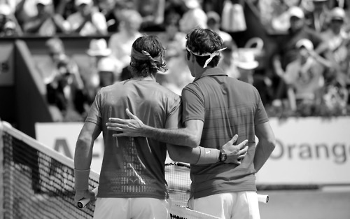 "rafaelnadalfans:  Rafael Nadal: ""I would play against Roger Federer the last game of my life."""