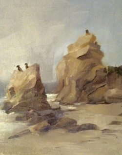 "Landscape Paintings, October-December 2012. On-site landscape paintings in oils on 9""x12"" canvas.  Ha Long Bay, Vietnam. (photo) El Matador State Beach , California. L. A. Arboretum, California. Vasquez Rocks Park, California."