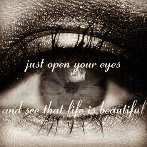 Just open your eyes, and see that life is beautiful.
