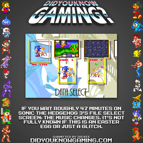 didyouknowgaming:  Sonic The Hedgehog 3.  http://www.vgfacts.com/trivia/605/