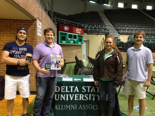 "The Delta State University Alumni Association had the opportunity to speak at the annual graduation practice hosted by the university's Registrar Office on Friday, May 3 at Walter Sillers Coliseum.  Jeffrey Farris, director of alumni affairs, spoke to the graduating class about the Alumni Association. He encouraged them to stay connected to Delta State and come back to campus and the Cleveland community every chance they could.  ""The Hugh Ellis Walker Alumni & Foundation office is your home away from home when you visit campus,"" said Farris.  Farris, along with Assistant Director of Alumni Affairs Jordan Thomas gave the students information about programs and services that the Alumni Association offers. The graduates were encouraged to get involved in their local chapter, wherever that may be, to support the program's affinity programs, and to attend the association's signature events such as Pig Pickin' (September 28) and Homecoming (November 1).  For more information on the Alumni Association, call 662-846-4660 or visit the website www.deltastate.edu/alumni. Visit the Alumni Association on our social media sites - Facebook: Statesmen Graduates; Twitter: @DSU_Alumni; Tumblr: www.dsualumni.tumblr.com; LinkedIn: DSU alumni; and You Tube: dsualumni1.  Photo: L to R: Milton Santos, B.B.A International Business and Marketing from Recife, Brazil; Taylor Hawkins, B.A. English and Journalism from Belzoni, MS; Emily Hearn, M.B.A. from Millington, TN; and Marshall Alexander, B.S. in Interdisciplinary Studies from Oxford, MS.»"