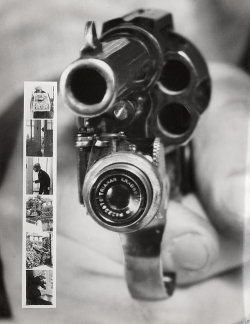interwar:  Revolver Camera: a Colt 38 with a build-in camera that takes pictures when the trigger is pulled. New York, 1938. (x)  Who shot ya?