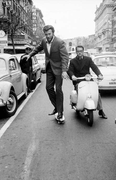 vintageeveryday:  Clint Eastwood skating on the street of Rome, ca. 1960s.