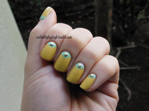 inspired by the talented Madeline Poole saw the nails and fell in love with it! tweaked mine a bit, changed the rhinestones to single gold square pyramid studs. looove these!