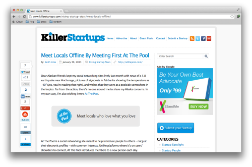 Excited and surprised to be featured in Killer Startups.  Thanks to At The pool member Adam for letting us know!  Check it out here: http://www.killerstartups.com/rising-startup-stars/meet-locals-offline/