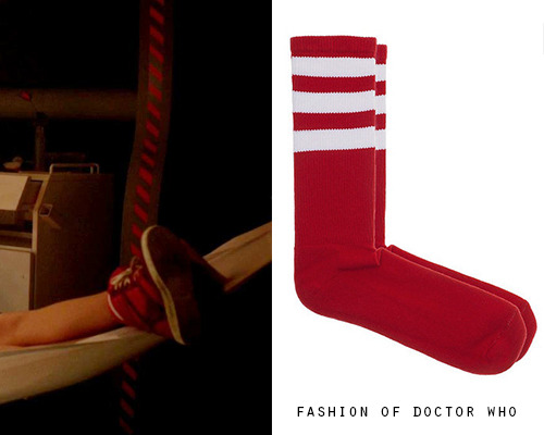 Clara Oswald - Asylum of the Daleks American Apparel striped calf-high socks ($8) Worn With: River Island Red Hi-Top Hidden Heel Sneakers and Custom Dress