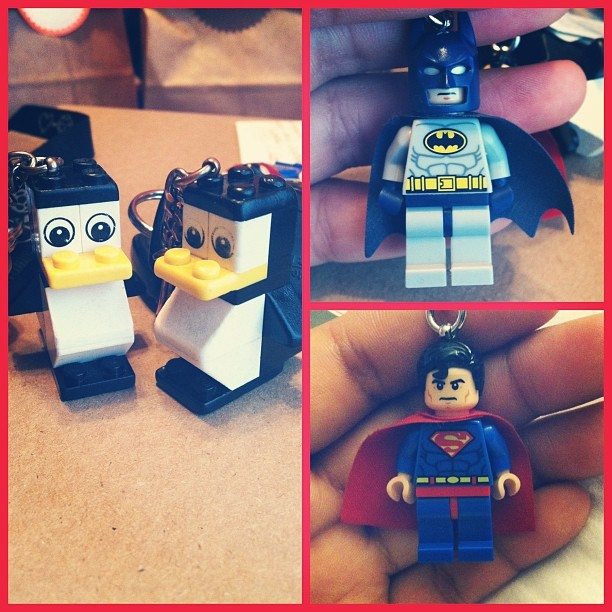 "Matching penguin & Super Hero Lego keychains with babe for ""12 days of Christmas"" gifts :)"