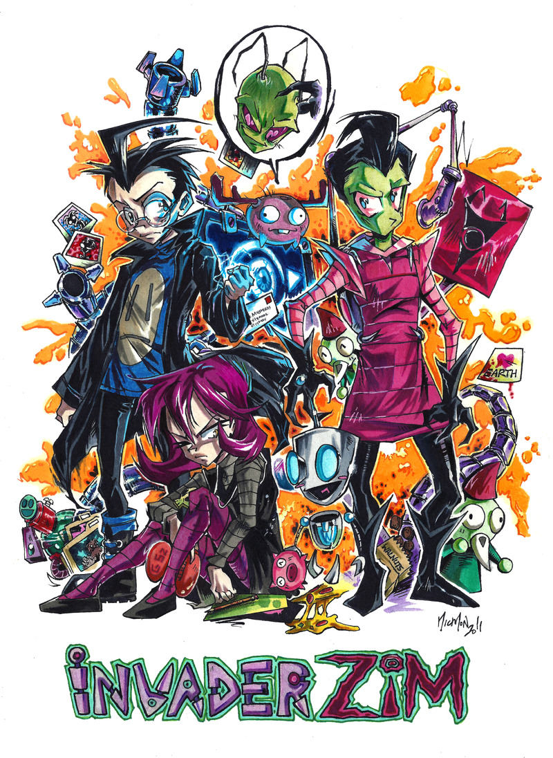Invader ZiM by sanitrance I know this has been around Tumblr already but I wanted to share this version because I updated the deviation :) It was so much fun drawing this! \^_^/ I must draw ZiM stuff agains yes