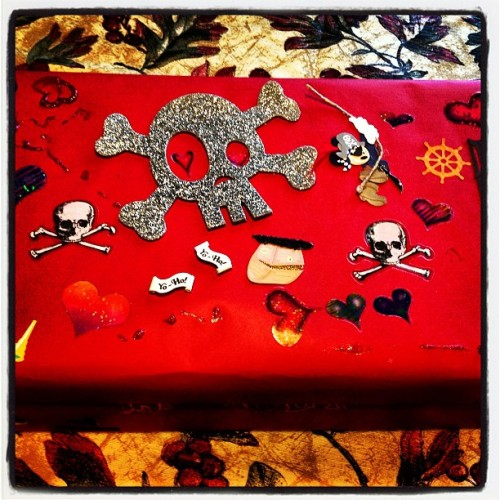 Best Valentine's box ever!!! Decorated by the Lincster… He loves skulls and Mickey Mouse lol (at La Casa Parsons)