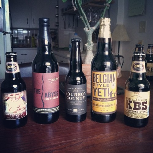 Pretty pleased with my stout collection right now.  #2k11 @greatdividebrew #Belgian #Yeti, #2k12 @deschutesbeer #TheAbyss, #GooseIsland #BourbonCounty, @foundersbrewing #BreakfastStout, and 2k13 @foundersbrewing #KBS #KentuckyBreakfastStout #CraftBeer #BeerPorn #StoutsOnStouts  (at Stoeffler's Palace of Love, Plaza Branch)