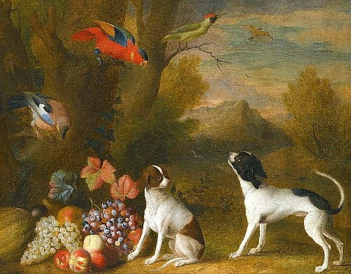 Jakob Bogdany Landscape with Dogs and Exotic Birds 18th century