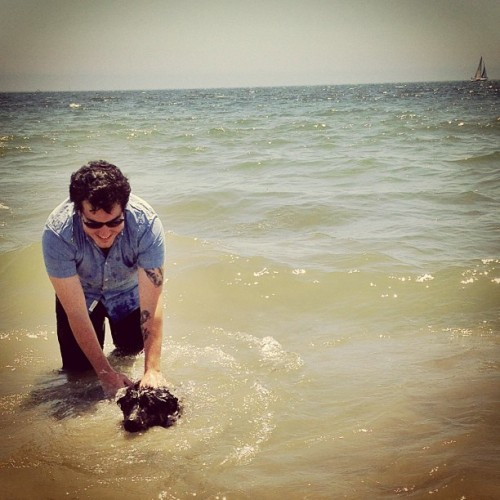 Taught taylor how to swim at the dog beach today. (at Rosie's Dog Beach)
