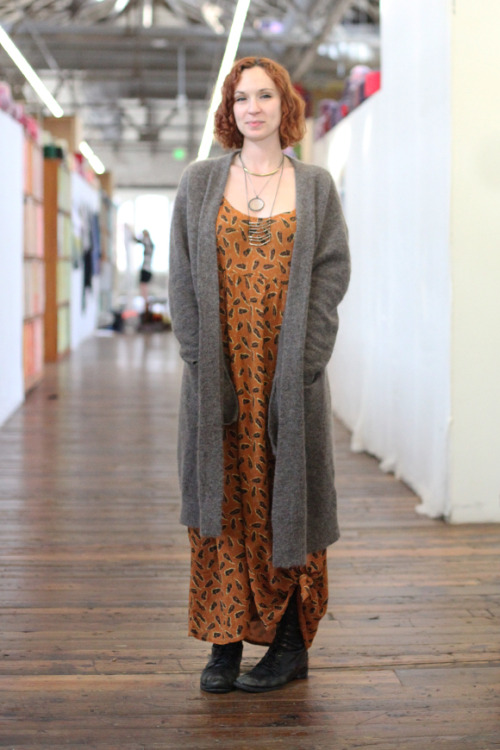 Free People Office Style: Printed maxi dresses with long cardigans and boots