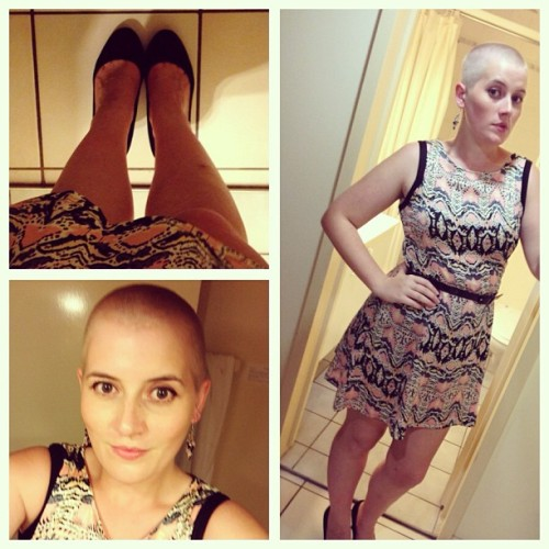 doingthingsthehardway:  Sah many selfies #playingdressup #feeling pretty #bald #worldsgreatestshave  Stunning! I love this.