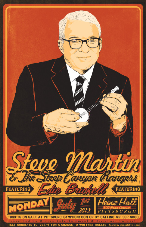 Steve Martin and the Steep Canyon Rangers featuring Edie Brickell at Heinz Hall, July 1st! I will have screenprinted posters available in July.