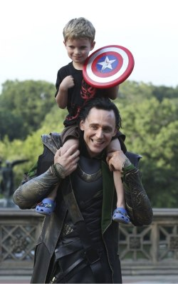 "delicious-hiddle-morsels:  mystolenrelicloki:  Story of a five year old Avenger, meeting the Avengers  'Suddenly, about fifty feet away, two very tall, colossal men walk out, having a conversation and minding their own business (…) By this point, Chris Hemsworth is walking away, so my son shouts out, ""Thor!""  Thor turns around, smiles and waves, then continues on his way.  But there is Loki, the God of Mischief. He sees my son, and smiles… ""Hi, Loki!"" my wife says (100% sure she didn't know Tom Hiddleston's name).  ""Can my son get a picture with you?"" she asks. ""Can I put him on my shoulders?"" Loki asks. ""Um…okay?"" is Jill's response, and she hands Tom Hiddleston our son.  He hoists him up on to his shoulders (I should mention that this guy is like 8 feet tall), and my wife takes out her Blackberry, only to find that it's on its last battery leg.  Nonetheless, she manages to get a couple of shots.  Hiddleston puts Edison down, shakes his hand and says goodbye…' (More)    I will never get over this."